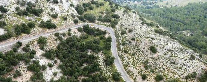 Fragmento de la carretera de Mallorca donde se rodó uno de los vídeos.