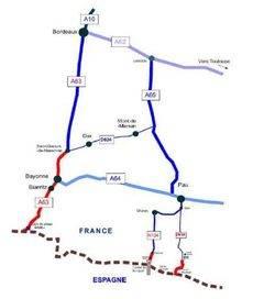 Mapa de los tramos de carretera afectados.