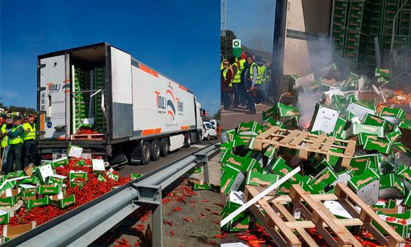 Fegatramer y CETM condenan el asalto a un camión en las protestas de Jaén