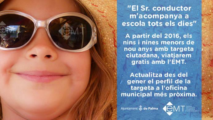 Menores de nueve años podrán viajar gratis en Palma