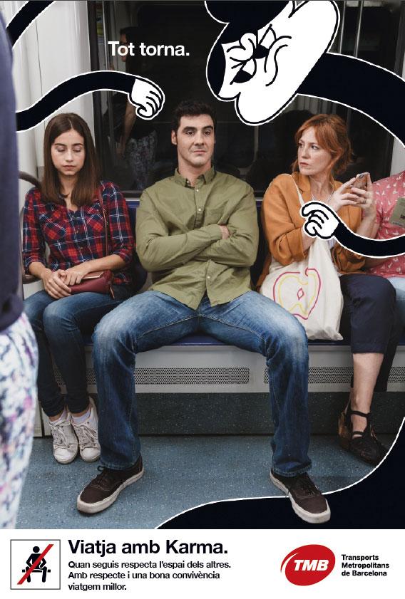 La campaña 'Viaja con Karma' de TMB llama a evitar el 'despatarre' en el transporte público