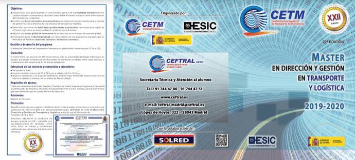 Convocada la 22ª edición del Máster de Transporte CETM, 2019-2020