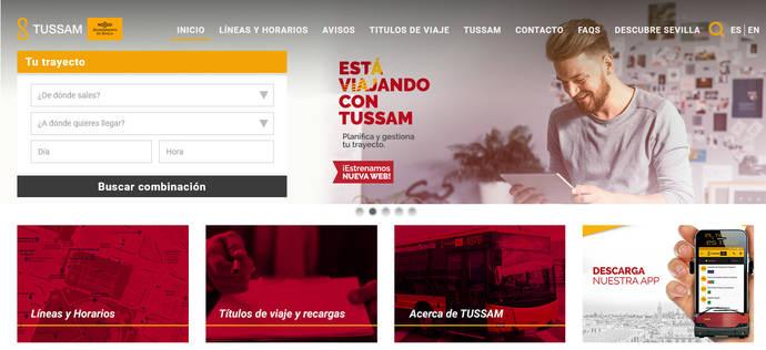 La renovada página web de Tussam.