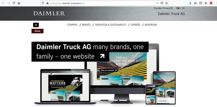 Daimler Truck AG; varias marcas, una familia, una nueva página web