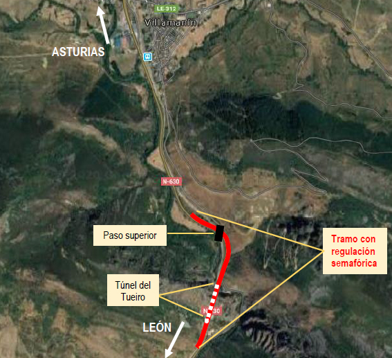 Afecciones al tráfico en la N-630 en Villamanín por obras de conservación del paso superior sobre la línea ferroviaria León-Gijón