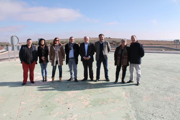 Visita de los representantes del gobierno castellanomanchego a las obras de mejora de la seguridad vial entre Ontur y Tobarra.