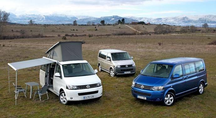 Distintas furgonetas de la gama de Volkswagen.