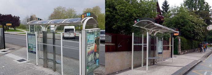 Dbus instala dos paneles informativos que usan energía solar