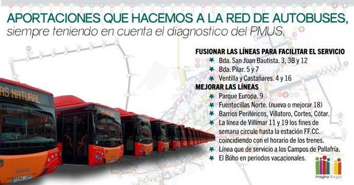 Imagina Burgos propone cambios en una decena de líneas del autobús urbano
