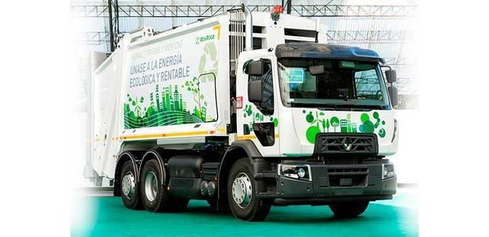 Un camión de Renault Trucks propulsado por gas.