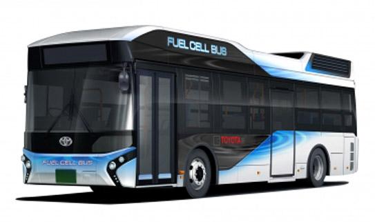 El autobús de pila de hidrógeno de Toyota.
