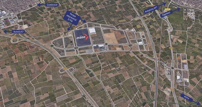 Mapa satélite de los terrenos de la nueva sede de Grupo Mazo.