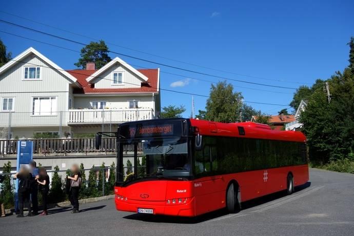 Uno de los Urbino eléctrico de 12 metros, durante la fase de prueba en Oslo.