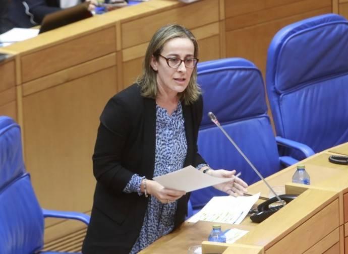 La consejera gallega de Infraestructuras y Movilidad, Ethel Vázquez, en el Parlamento regional.