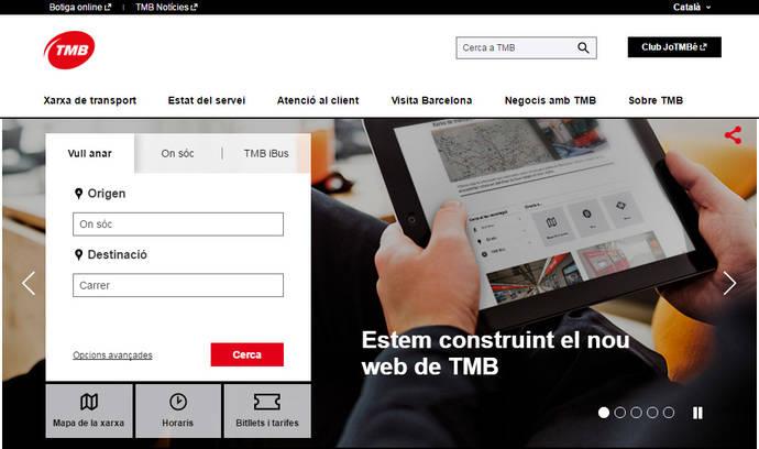 La nueva 'web' de TMB se estrena en versión de prueba