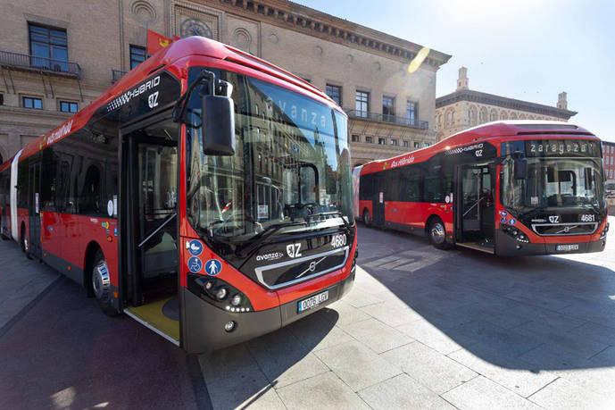 Zaragoza pone en circulación 17 híbridos articulados de Volvo
