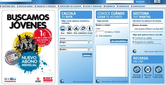 La EMT Valencia cuenta con una media diaria de 6.000 visitas a su web corporativa, con un uso decuatro minutos por visitante