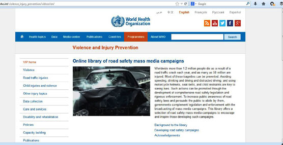 La OMS incluye en su nueva biblioteca online las campañas de concienciación y divulgación de la DGT