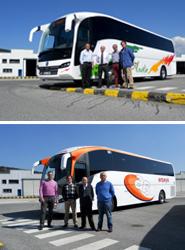 Sunsundegui entrega dos SC7 sobre chasis Volvo, uno al grupo Transvía y otro a Autocares Amaya