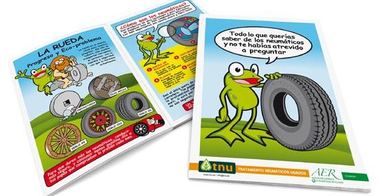 Una rana explica a los más pequeños que hay detrás del reciclado de neumáticos en el nuevo cómic de TNU